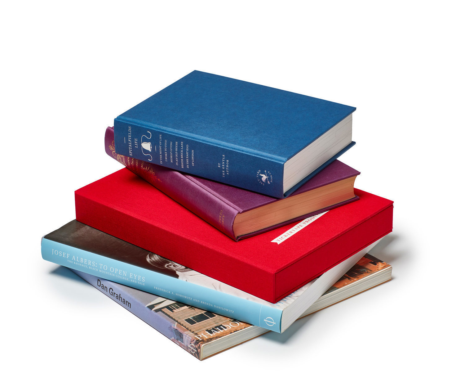Spoken Portrait hand-bound presentation box in a stack with other special edition biographies